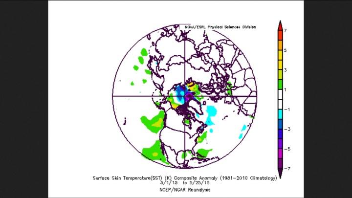Stark unterkühlte Zentralarktis mit normalen Tempearturen auf der gesamten NH im Mai 2015