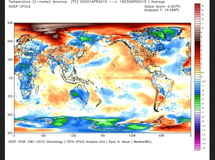 Die Abweichung der globalen Durchschnittstemperatur (2m) im April 2015 beträgt 0,10 K zum WMO-Klimamittel 1981-2010 (Rang 16 von 37 Jahren). Quelle: wie oben