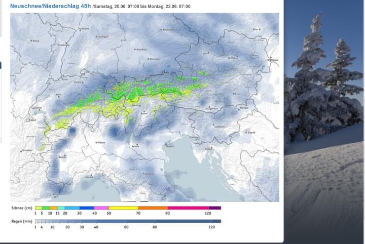 Bergfex-Schneevorhersage für den Alpenraum für den 20. bis 22.6.2015