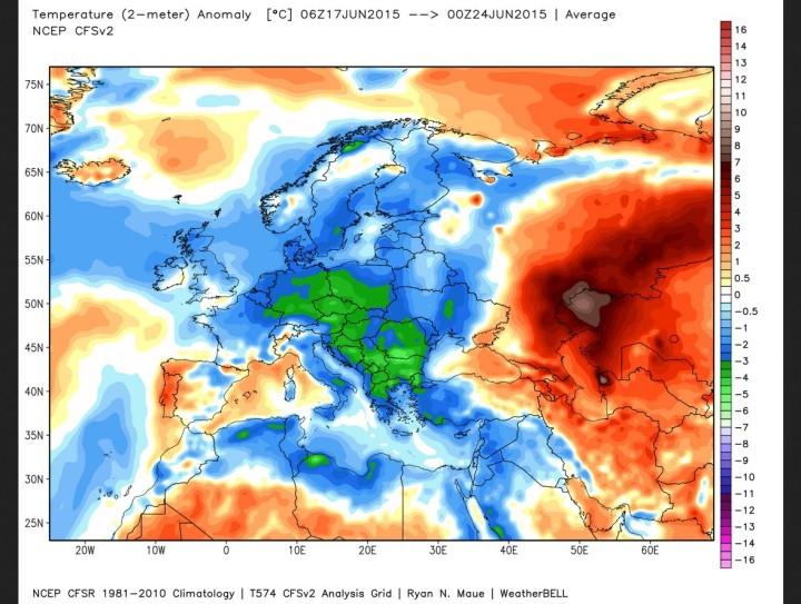 Schafskälte: Europa deutlich unterkühlt vom 17. bis 24.6.2015 in der CFSv2-Analyse