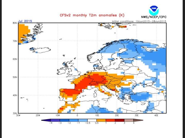 NOAA/CFSv2-Prognose von Ende Juni für den Juli 2015 in Europa. Die positive Abweichung der Temperaturen in Deutschland beträgt zum Klimamittel 1982-2010 zwischen -0,5 und +2,0 °C mit einem deutlichen Süd-Nord Gefälle. Quelle: