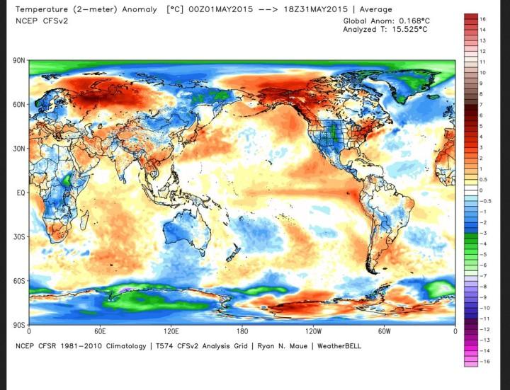 Die Abweichungen der globalen Durchschnnittstemperatur (2m) im Mai 2015 beträht 0,168 zum WMO-Klimamittel 1981-2010 (Rang 9 von 37 Jahren)
