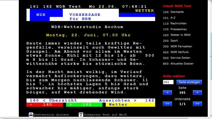 Wettervorhersage für den 22. Juni 2015 für NRW mit Graupelgewittern