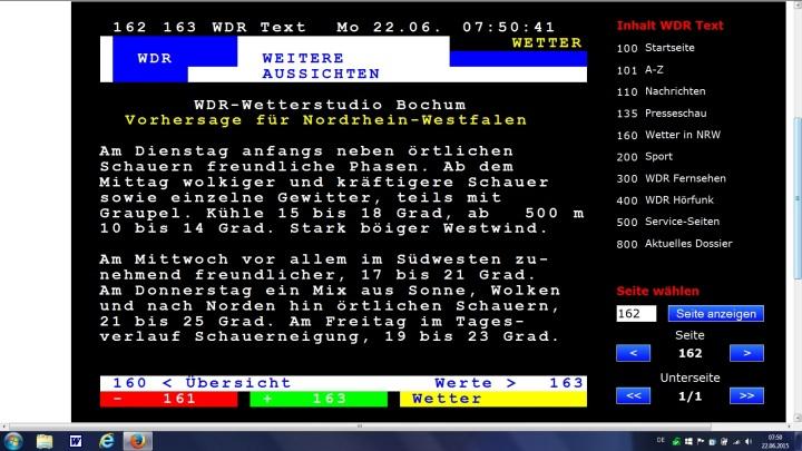 Wettervorhersage für NRW für den 23. Juni 2015 mit Graupelgewittern
