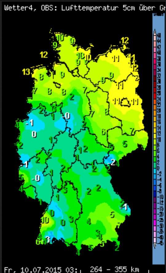 Seltener nächtlicher Bodenfrost mitten im Sommer am 10.  Juli 2015 in Deutschland.