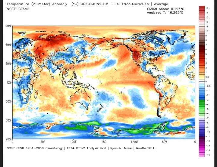 Die Abweichung der globalen Durchschnittstemperatur (2m) im Juni 2015 beträgt 0,2 K zum WMO-Klimamittel 1981-2010 (Rang 9 von 37 Jahren). Quelle: wie oben