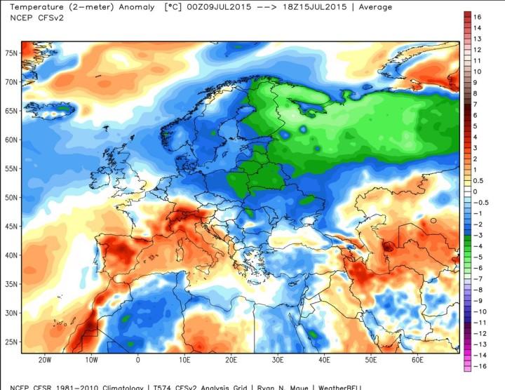 CFSc2-Analyse der durchschnittlichen Abweichungen der Temperaturen (2m) in Europa vom 9. bis 15. Juli 2015: Europa ist in großen Teilen mitten Im Sommer 2015 stark unterkühlt. Wuelle: wie vor