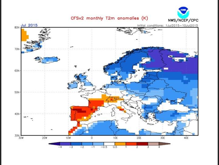 CFSv2-Prognose vom 11.7.2015 für den großflächig unterkühlten Juli 2015 in Europa. Quelle: