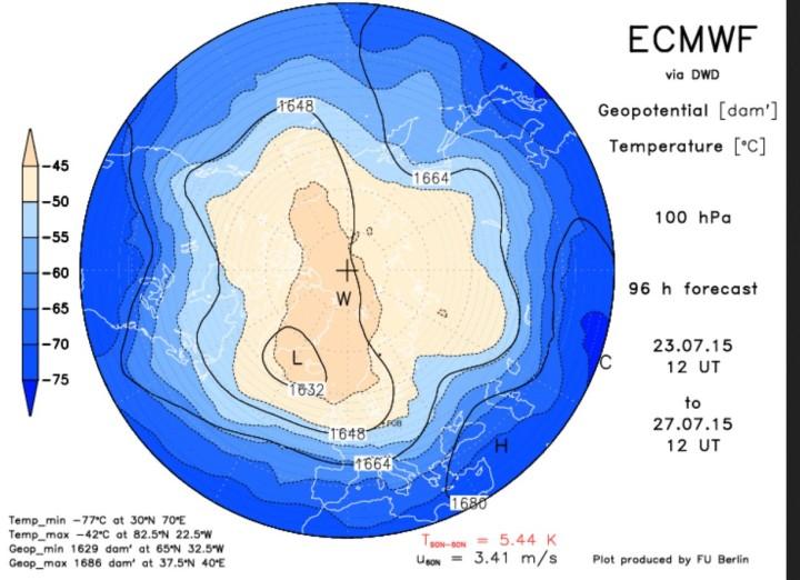 ECMWF-Prognose für den Luftdruck in der unteren Stratosphäre vom 24.7. für den 28.7.2015 mit kaltem Trog des früh erwachten Polarwirbels über Mitteleuropa. Quelle: