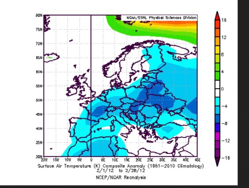 Eisiger Februar 2012 in Europa. Quelle: wie vor