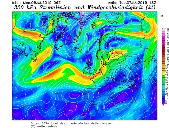 NOAA/GFS-Polarjet-Prognose vom 6.7.2015 für den 7.7.2015 mit Trog vor Mitteleuropa