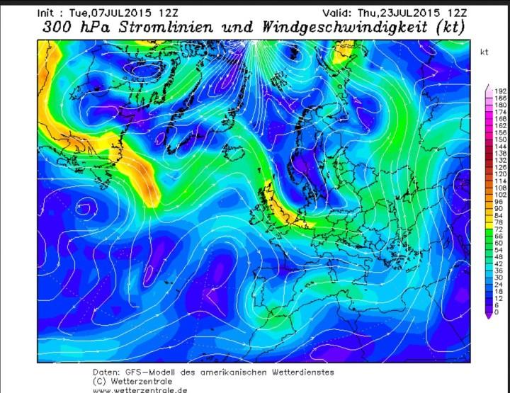 GFS-Jetstream-Prognose vom 7.7.2015 für den 13.7.2015 mit kaltem Trog über Mitteleuropa.