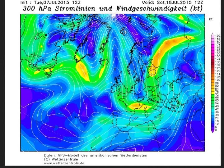 GFS-Jetstream-Prognose vom 7.7.2015 für den 18.7.2015 mit kaltem Trog über Mitteleuropa.