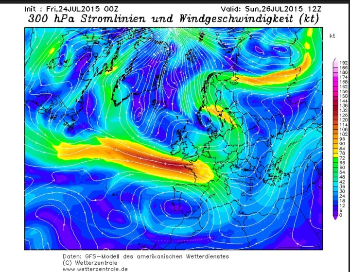 GFS-Jetstreamprognose (gelbe und rote Farben für hohe Windgeschwindigkeiten). Der für diese Jahrezeit weit südlich liegende Polarjet führt auf seiner Nordseite kalte Luftmassen nach West- und Mitteleropa. Quelle: