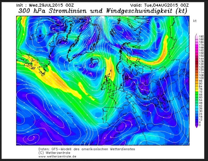 GFS-Jetstream-Prognose in 300 hPa (csa. 9000m Höhe) vom 29. Juli für den 4. August 2015 mit kaltem Polarwirbeltrog von Island bis Portugal und warmer bis heißer südlicher Anströmung über West- und Mitteleuropa. Quelle: