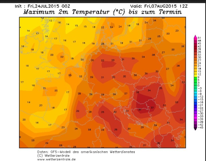 GFS-Prognose für Tmax in Deutschland um 30°C vom 24.7. für den 7.8.2015. Quelle:
