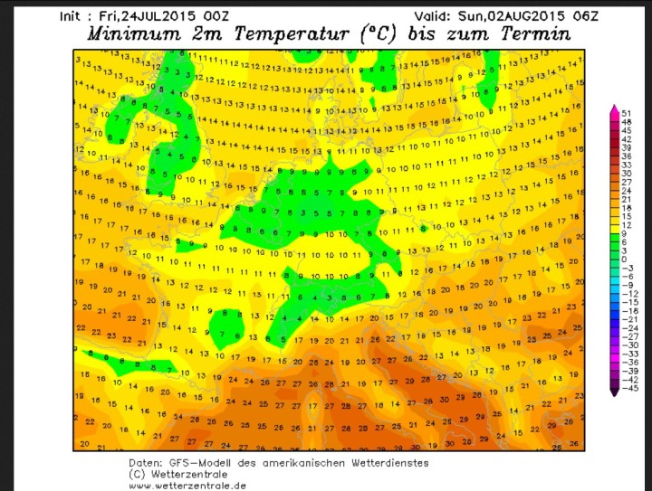 GFS-Prognose für Tmin in Deutschland vom 24.7. für den 2.8.2015 mit der Möglichkeit von erneutem Bodenfrost bei Tmin 2m unter 4 °C z.B. im Sauerland. Quelle: wie oben