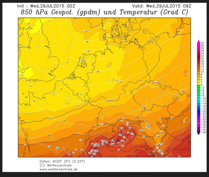 GFS-Prognose für den 29. Juli 2015 mit Temperaturen um 3°C in 1500 m Höhe (850hPa). Quelle