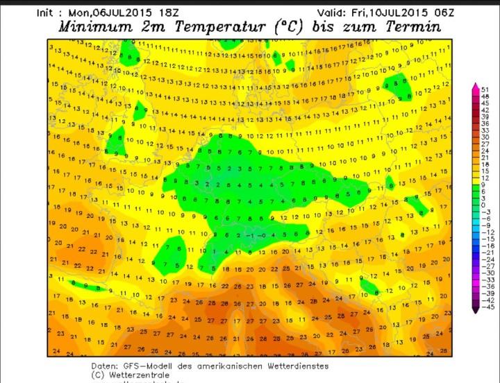 GFS-Tmin-Prognose vom 6.7.2015 für den 10.7.2015 mit der Möglichkeit für Bodenfrost im Sauerland und in der Eifel bei Tmi 2m = 2°C.