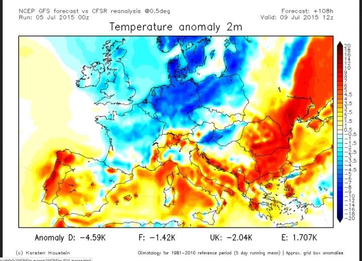 NOAA/NCEP T-Prognose für den 9.7.2015: Mitteleutopa stark unterkühlt