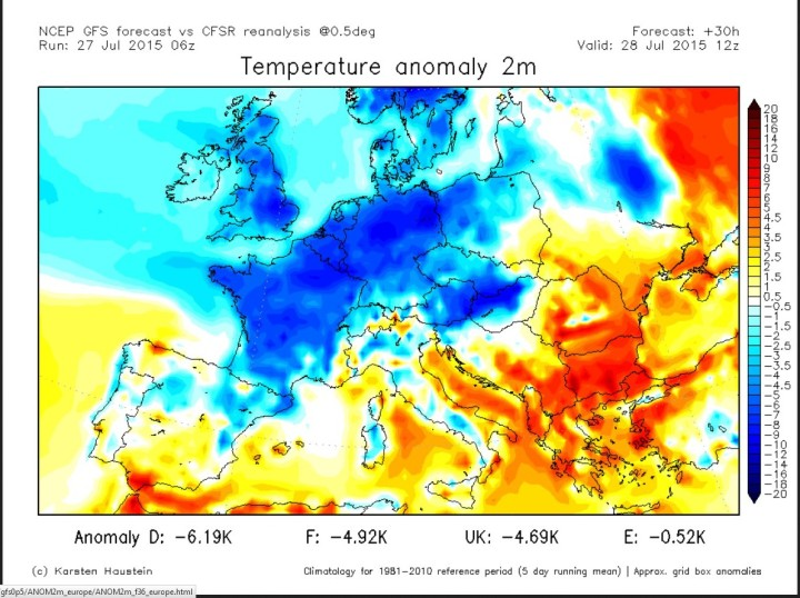 GFS-Prognose der verbreitet bis zu 6 K negativen T-Abweichungen in Europa vom 27. für den 28. Juli 2015. Quelle: