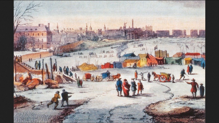 "A frost fair on the Thames (Alamy) In England during this ""Little Ice Age"", River Thames frost fairs were held. In the winter of 1683-84 the Thames froze over for seven weeks, during which it was ""passable by foot"", according to historical records. - See more at: http://www.thegwpf.com/climate-scare-earth-heading-for-mini-ice-age-within-15-years/#sthash.XcCD50HK.dpuf"
