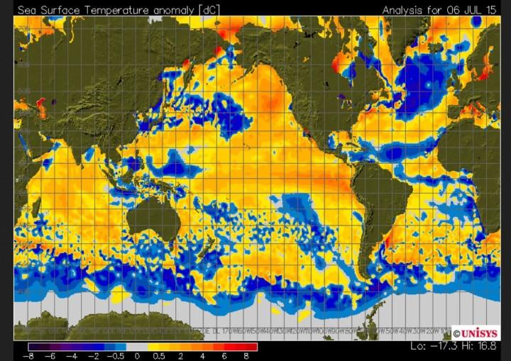 Negative Abweichungen der Meeresoberflächentemperaturen (SST) im Nordatlantik; positive Abweichungen im äquatorialen Pazifik mit El Niño- Bedingungen. Quelle: http://weather.unisys.com/surface/sfc_daily.php?plot=ssa&inv=0&t=cur