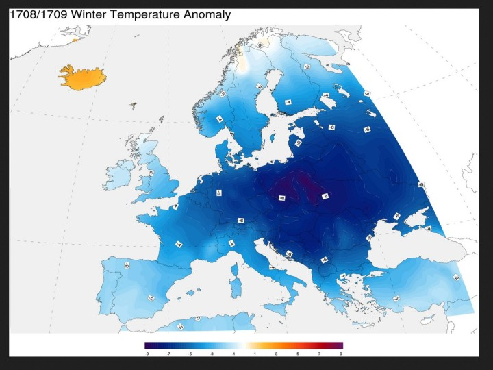 Die Temperaturanomalien im Winter 1708/1709 in Europa. Quelle: