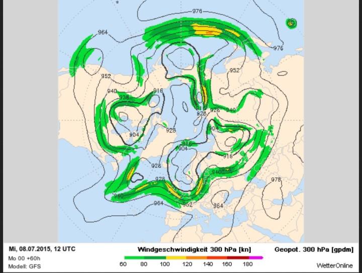 GFS-Prognose für den Polarjet mit unsommerlich kaltem Höhentrog über Mitteluropa am 8.7.2015. Insgesamt sind 5-6 Rossbywellen zu erkennen, was auf eine rasche Drehbewegung des gesamten Systems von West nach Ost (links nach rechts) schließen lässt.