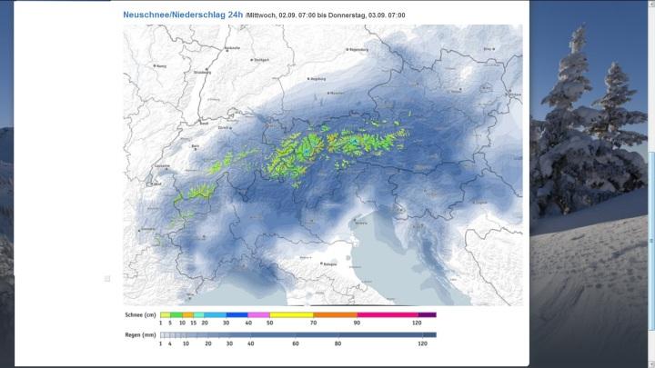 Bergfex-Prognose für Schneefall in den Alpen am 2. und 3. September 2015. Quelle: