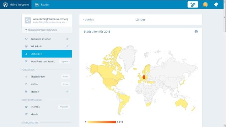 Screenshot der Blog-Statistik für die mehr als 40 Länder der Aufrufe und Besucher von Ende April bis 10.8.2015.