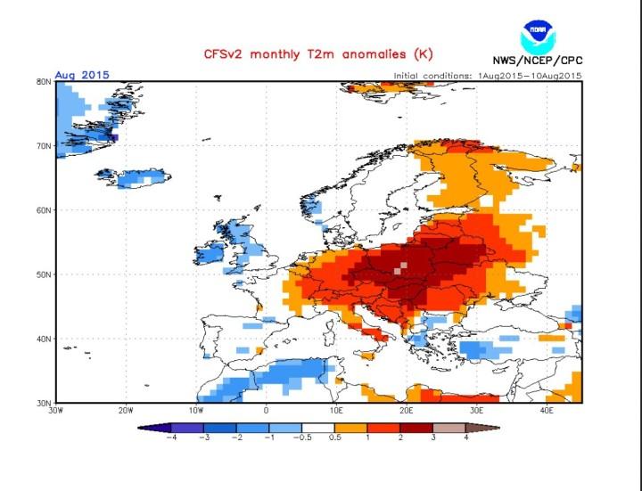 NOAA/CFSv2-Prognose für die Temperaturabweichungen (2m) in Europa im August 2015. Quelle: