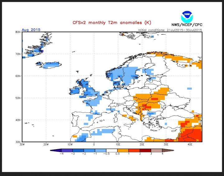 CFSv2-Prognose für die T-Abweichungen in Europa im August 2015. Deutschland liegt zwischen +0,5 und -1 K Abweichung im Normalbereich einer Standardabweichung (1 sigma)  vom Mittelwert. Quelle: