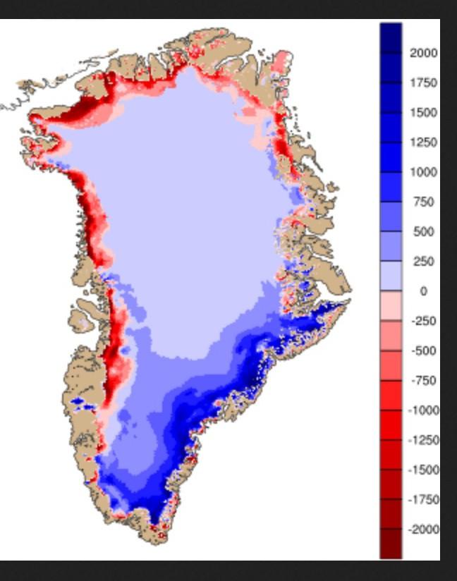 Ds Grönlandeis wächst seit dem 1.9.2014 bis zum 25.8.2015, wie die überwiegend blauen Flächen mit Zuwachs gegenüber den wesentlich kleineren roten Flächen mit Eisverlust zeigen: Quelle: