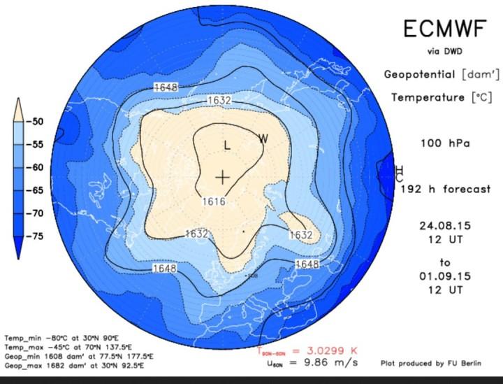 ECMWF-Strat.-Prognose 100 hPa (ca. 16km Höhe) vom 24.8.2015 für den 1.9.2015 mit kaltem Trog des arktischen Polarwirbels über West- und Mitteleuropa. Quelle: