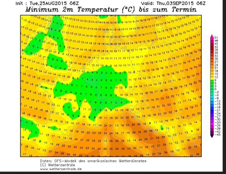 GFS-Prognose für die Temperaturen in Deutschland vom 25.8. für den 3.9.2015 mit Tmin gebietsweise um 3°C mit der Gefahr von Bodenfrost. Quelle: