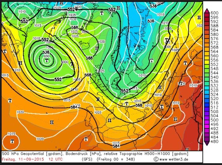 GFS-Prognose vom 28.8.2015 mit frühwinterlich kaltem Trog über Nord- und Mitteleuropa am 11. September 2015. Quelle: