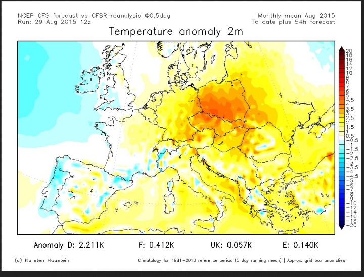 GFS-Prognose füpr die T-Abweichungen (2m) zum international üblichen modernen Klimamittel 1981-2010 für den August 2015 in Deutschland und Europa. Quelle: