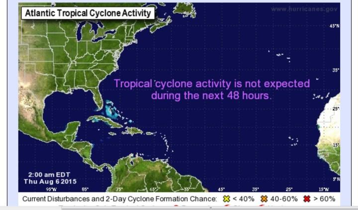 Aktuelle Prognose vom NOAA-Hurrikan-Zentrum für die Aktivitäten der kommenden beiden Tage im Nordatlantik: Tote Hose! Quelle: