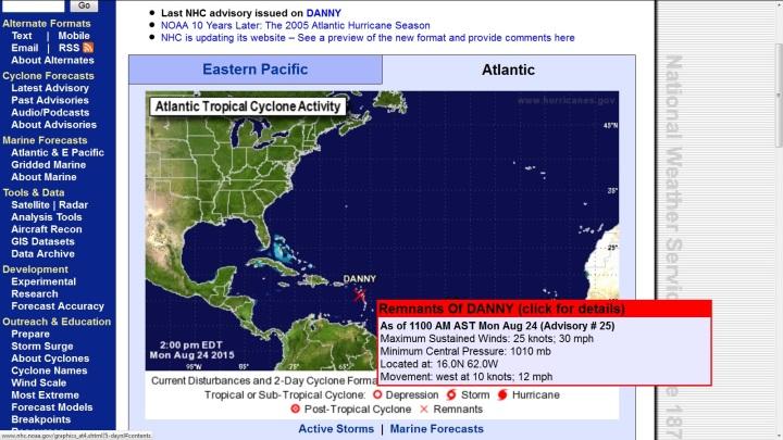 Reste des kurzlebigen Ex-Hurrikans Danny (rotes x) bei den Kleinen Antillen am Mo, 24.8.2015. Quelle: