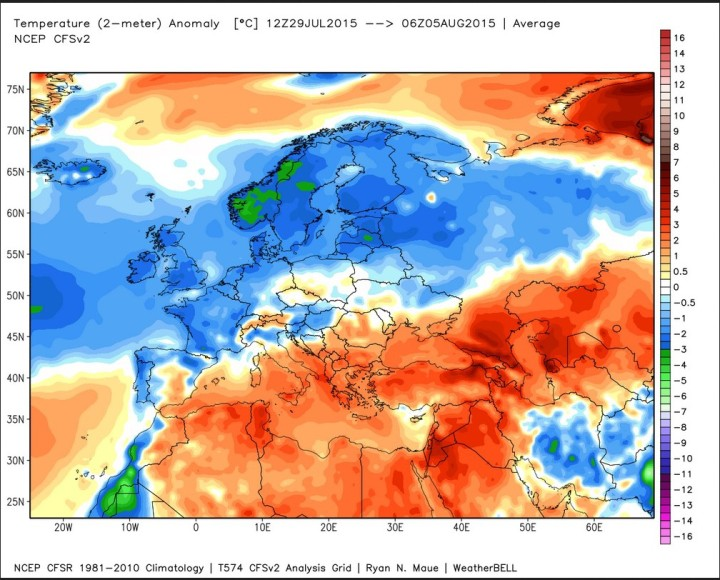 Analyse der Temperaturabweichungen (2) in Europa vom 28.7. bis 5.8.2015 mit einer Zweiteilung: Nordwesetn unterkühlt, Rest deutlich wärmer als normal. Quelle: