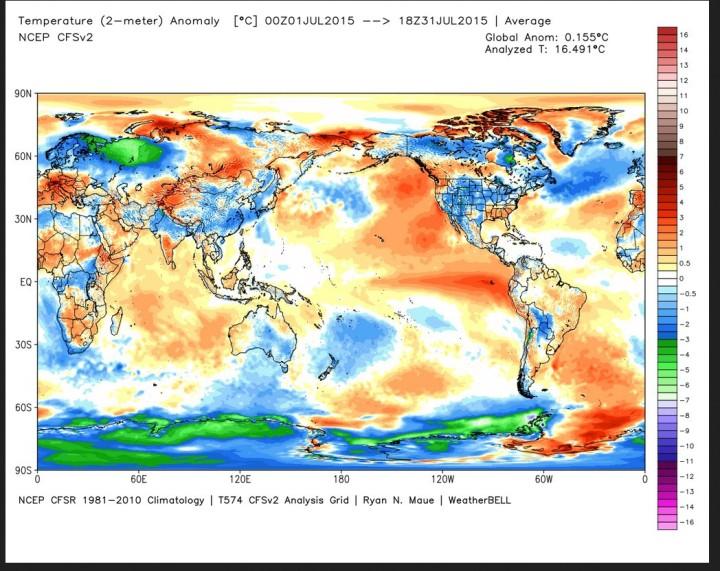 Die Abweichung der globalen Durchschnittstemperatur (2m) im Juli 2015 beträgt 0,2 K zum WMO-Klimamittel 1981-2010 (Rang 10 von 37 Jahren, Vormonat 0,193). Quelle: wie oben