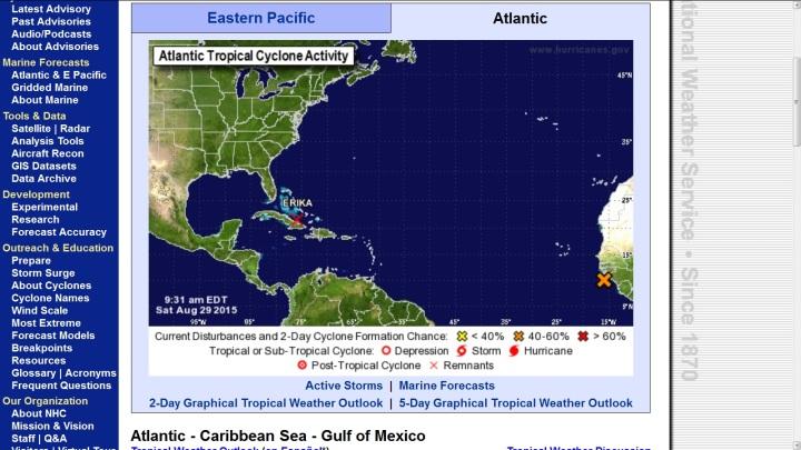 Reste (remnats) des Tropischen Sturms (TS) Erika vor der Insel Kuba am 29.8.2015. Quelle: