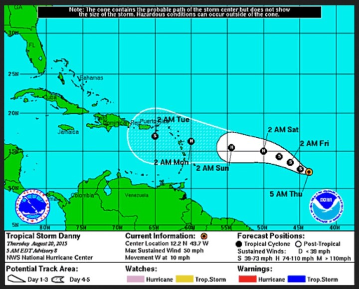 NOAA Hurrikan-Warnung (H) vom 20.8.2015 für Sa, 22.8.2015 und zwei Folgetage mit Abschwächung zum Tropischen Sturm (TS) bereits am Mo, 24.8.2015 vor Puerto Rico. Quellle: