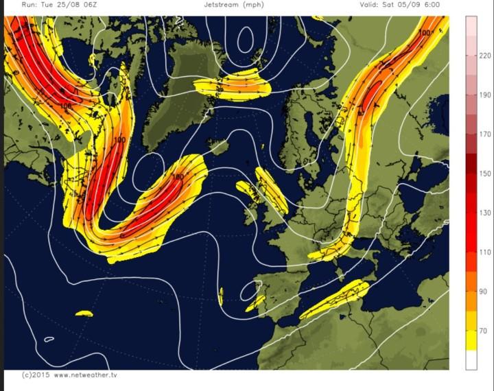 GFS-Polarjet-Prognose für Europa vom 25.8. für den 5.9.2015 mit blockierendem Hoch über dem Nordatlantik und kaltem Trog über Mitteleuropa. Quelle: