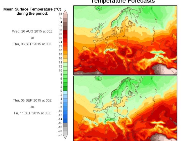 Prognose der Temperaturabweichungen zum (kühlen) Klimamittel 1901-2000 für Europa: Auf den Sommer folgt der Herbst. Quelle: