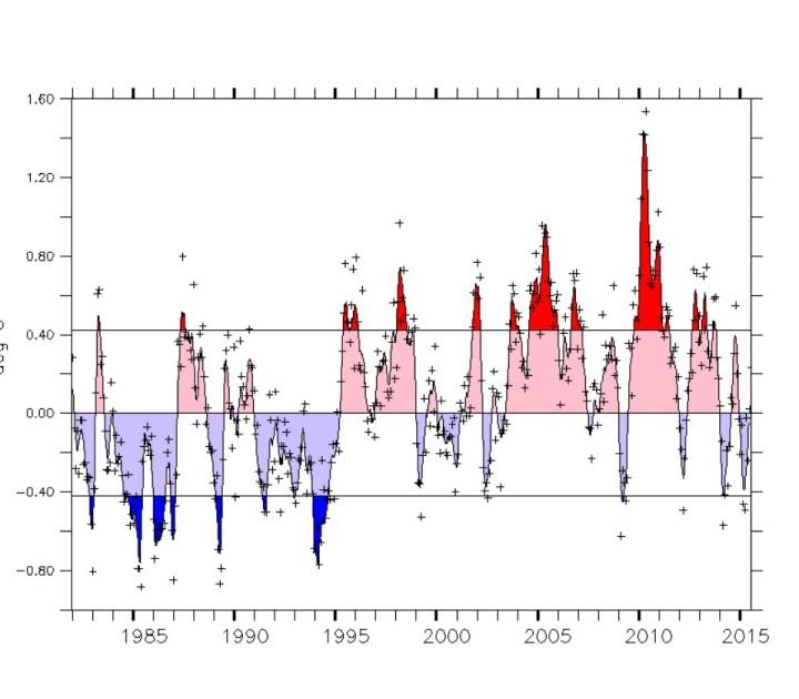 Zyklischer Verlauf der SSTA im Tropischen Nordpazifik. Die warme Phase neigt sich dem Ende zu. Quelle: wie vor