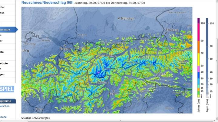 Bergfex-Prognose für Tirol vom 20. bis 24.9.2015 mit bis zu 50 cm Neuschnee bei einer Schneefallgrenze um 1500 m. Quelle: