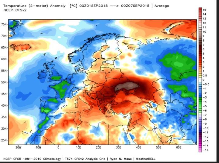 NOAA-CFS-Analyse der T-Abweichungen (2m) vom international üblichen modernen Klimamittel 1981-2010 vom 1. bis 7. September in Europa. Weite Teile West-, Mittel, Nord- uns Norosteuropas einschließlich deutschland sindf unterkühlt (blau/grüne Farben), während sich hochsommerliche Werte (ot/orange/graue Farben) mit Schwerpunkt über der Ukraine und Südosteuropa halten. Quelle: