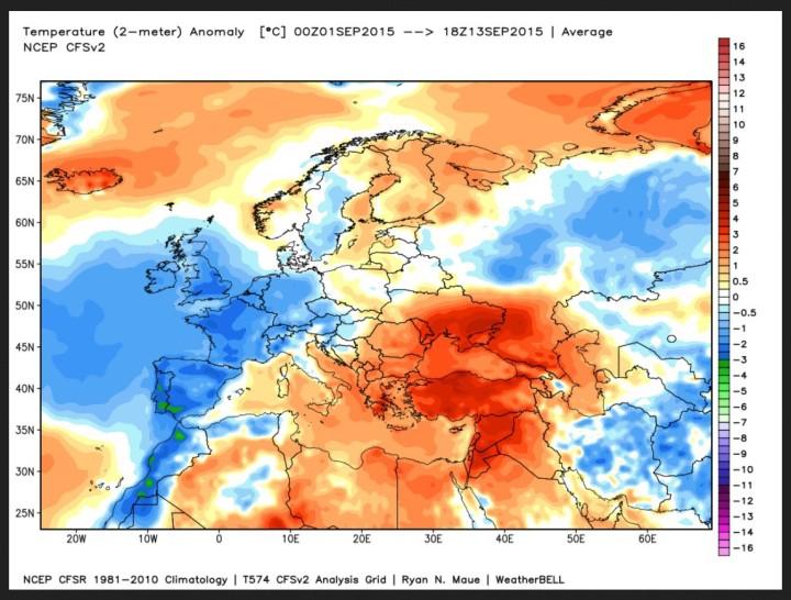 NOAA-CFS-Analyse der T-Abweichungen (2m) vom international üblichen modernen WMO-Klimamittel 1981-2010 vom 1. bis 13. September in Europa. Weite Teile West-, Mittel, Nord- und Nordosteuropas einschließlich Deutschland sind unterkühlt (blau/grüne Farben), während sich hochsommerliche Werte (ot/orange/graue Farben) mit Schwerpunkt über der Ukraine und Südosteuropa halten. Quelle: